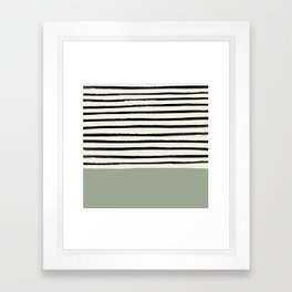 Sage Green x Stripes Framed Art Print