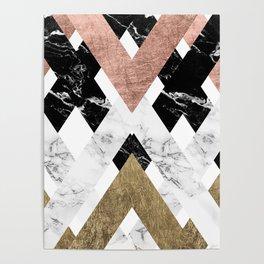 Modern geometric chevron black white marble rose gold foil gold triangles pattern Poster
