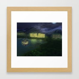 Night Cable Car in Hong Kong Framed Art Print