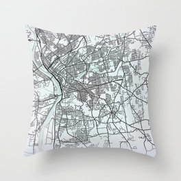 Springfield, MA, USA, White, City, Map Throw Pillow