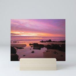 FIERY SUNSET SANDYMOUTH BEACH ROCKS CORNWALL Mini Art Print