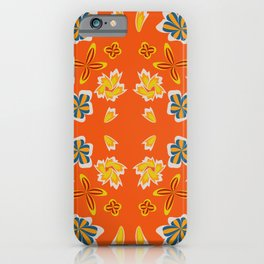 seamless pattern with leaves and flowers doodling style iPhone Case