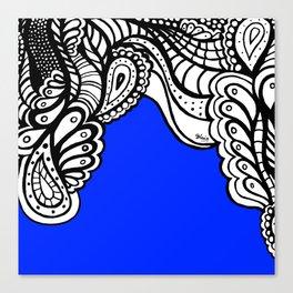 Blue Royal Doodle Artwork Canvas Print