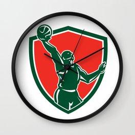 Basketball Player Rebounding Lay-Up Ball Shield Wall Clock