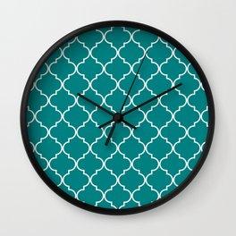 Quatrefoil - Teal Wall Clock
