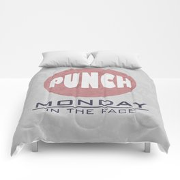Punch Monday in the face - Red, Blue & Gray Comforters