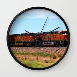 Orange BNSF Engines Wall Clock