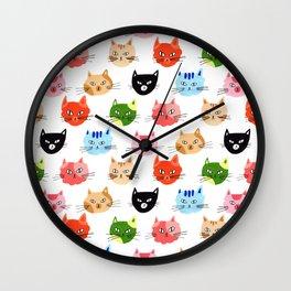 Cat faces pattern in gouache Wall Clock