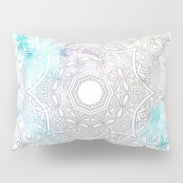 abstract gray and turquoise mandala design in minimal style Pillow Sham