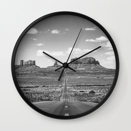 On the Open Road - Monument Valley - b/w Wall Clock