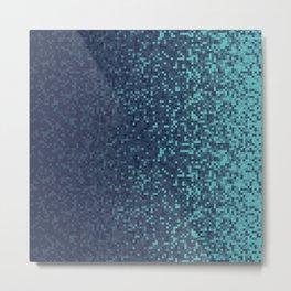 Dark Blue Pixilated Gradient Metal Print