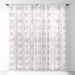 Pink Elephant Baby Girl Nursery Sheer Curtain