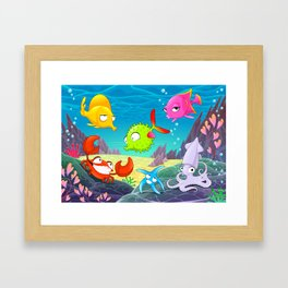 Funny happy animals under the sea. Framed Art Print