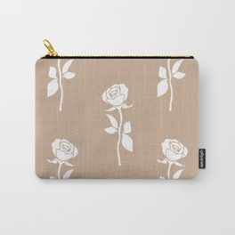 White rose seamless pattern isolated on brown background. Abstract flower wallpaper design. Carry-All Pouch