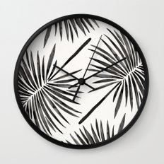 Tropical Fan Palm – Black Wall Clock