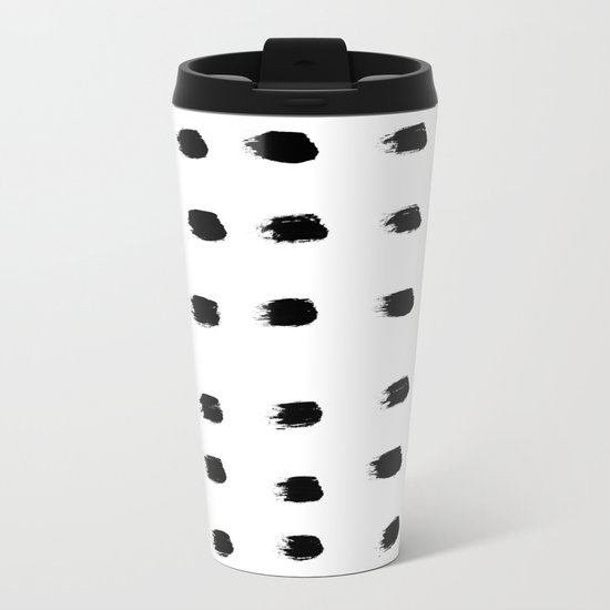 Jacques Pattern - Pure White Metal Travel Mug