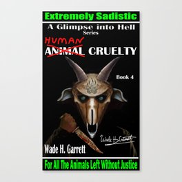 """""""Human Cruelty"""" book cover art with signature Canvas Print"""