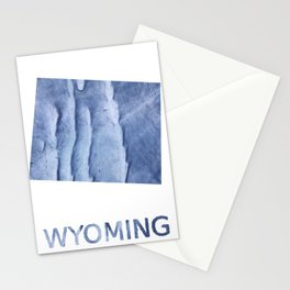 Wyoming map outline Blue watercolor Stationery Cards