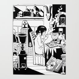 Morning coffee in a lab Poster