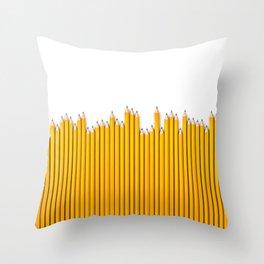 Pencil row / 3D render of very long pencils Throw Pillow
