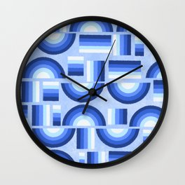 Geometric rainbow - blue Wall Clock
