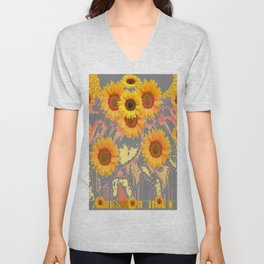MODERN ART YELLOW SUNFLOWERS  GREY ABSTRACT Unisex V-Neck
