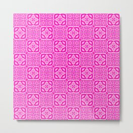 Hot Pink Moroccan Tile Bliss Metal Print