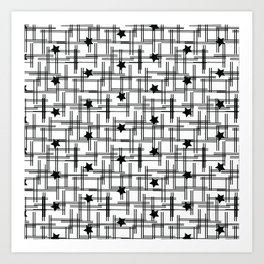 Star Hatch Black and White Pattern Art Print