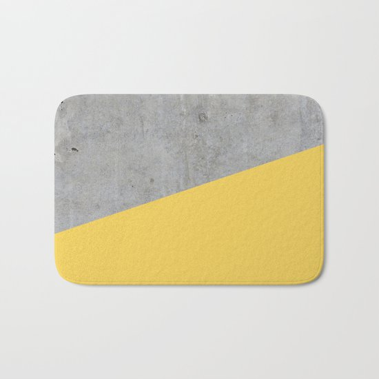 Concrete and primrose yellow color Bath Mat