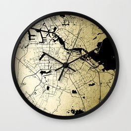 Amsterdam Gold on Black Street Map Wall Clock
