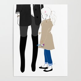 Fashion Mother Daughter Trench Girl with Bubbles Poster