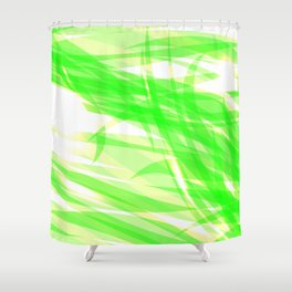 Green and smooth sparkling lines of light green ribbons on the theme of space and abstraction. Shower Curtain