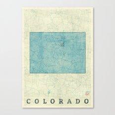 Colorado State Map Blue Vintage Canvas Print