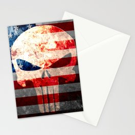 Punisher Themed Skull and American Flag on Distressed Metal Stationery Cards