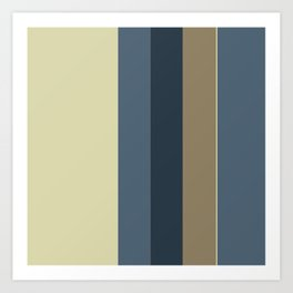 Vertical Solid Taupe Blue Stripes Art Print