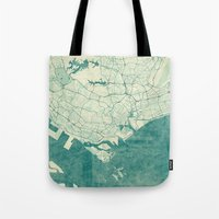 singapore Tote Bags featuring Singapore Map Blue Vintage by City Art Posters