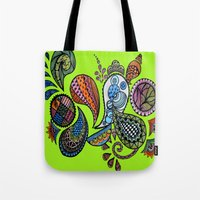 paisley Tote Bags featuring Paisley by Sketchii Studio