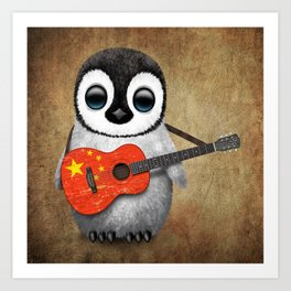 Baby Penguin Playing Chinese Flag Acoustic Guitar Art Print
