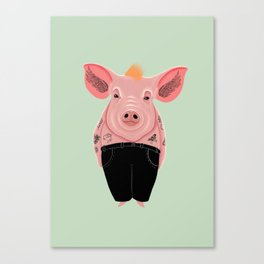 Cool Pig with Tattoos | Green Canvas Print