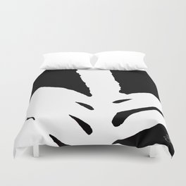 Green Fern White and Black Duvet Cover