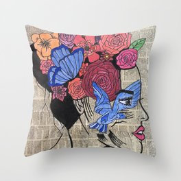 Whimsical News Girl Throw Pillow