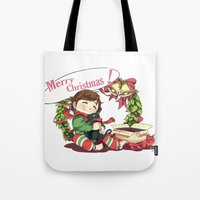 hiccup Tote Bags featuring Merry Christmas from Hiccup and Toothless by Clgtart