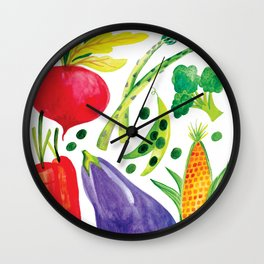 Veg Out - Vegetable, Veggies, Watercolor, Food, Beet, Carrot, Pea Wall Clock