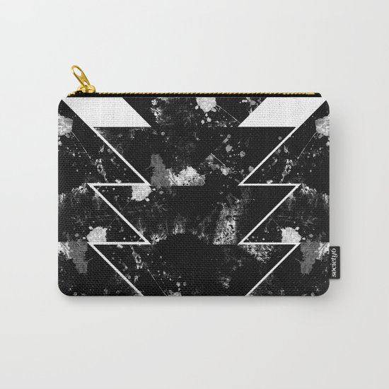 Up And Down - Black and white textured triangles, geometric, abstract Carry-All Pouch