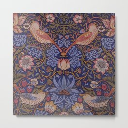 Birds in The Flower and Strawberry Garden Design Metal Print