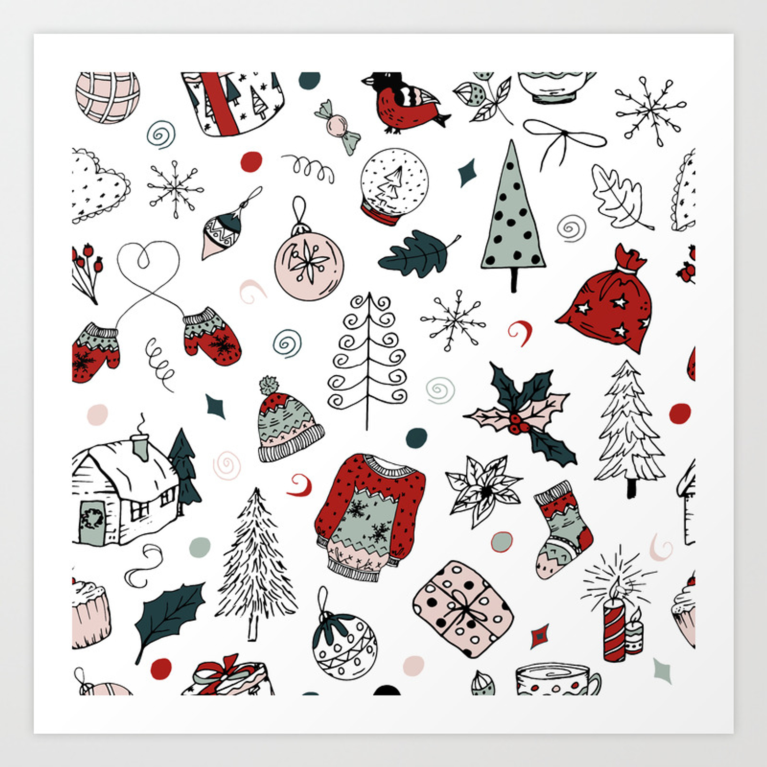 - Christmas Holiday Pattern, Winter Hand Drawing Background. Art
