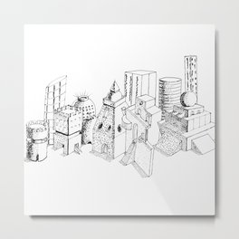 cubes and balls in the city . Art Metal Print