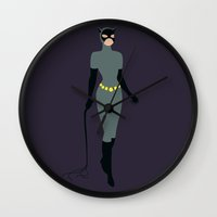 catwoman Wall Clocks featuring Catwoman by karla estrada