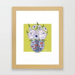 Goldfish Flowers Framed Art Print