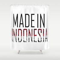 indonesia Shower Curtains featuring Made In Indonesia by VirgoSpice